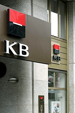 Logo on the headquarters of the Komercni Banka KB bank in Prague, Czech Republic, Europe