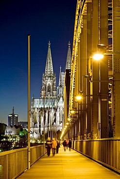 Cologne Cathedral, Hohenzollernbruecke Bridge and the Rhine River, Cologne, North Rhine-Westphalia, Germany, Europe
