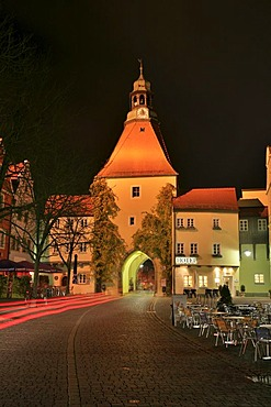 Lower Gate and historic centre at night, Weiden in the Upper Palatinate, Bavaria, Germany, Europe