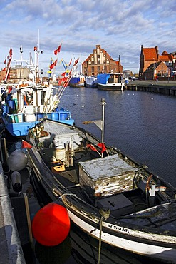 Fishing boats in the old harbour of Wismar on the Baltic Sea coast, UNESCO World Heritage Site, Hanseatic League city of Wismar, Mecklenburg-Western Pomerania, Germany, Europe