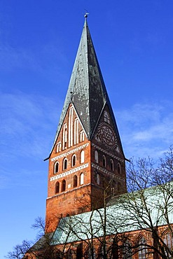 Historic gothic hall church, Lueneburger Johanniskirche, historic town centre, Hanseatic City of Lueneburg, Lower Saxony, Germany, Europe