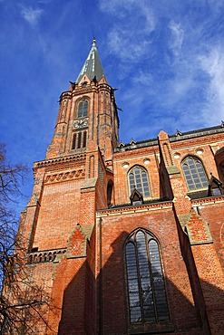 Historic Gothic basilica, Lueneburg St. Nikolaikirche Church in the historic centre, hanseatic city of Lueneburg, Lower Saxony, Germany, Europe