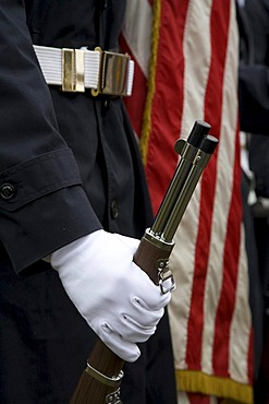 Members of the Junior Reserve Officers Training Corps from the Detroit Public Schools participate in a Veterans Day ceremony, Detroit, Michigan, USA