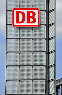 Solar panels and a DB logo, Berlin Hauptbahnhof, Berlin's main train station, Lehrter Bahnhof, Berlin, Germany, Europe