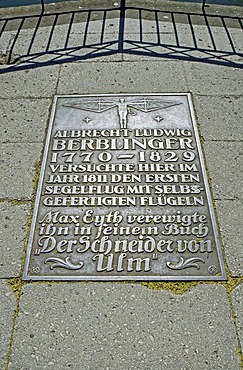 """Commemorative plaque, Adler bastion, this is where the """"tailor of Ulm"""" started his attempt to fly, Ulm, Baden-Wuerttemberg, Germany, Europe"""