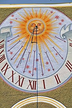 Sundial, pilgrimage church Maria Schnee, Legau, Allgaeu, Bavaria, Germany, Europe