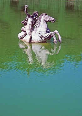 Equestrian statue in water, Boboli Gardens, Florence, Tuscany, Italy, Europe