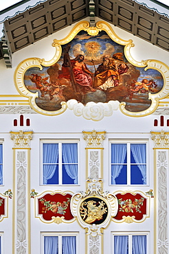 Building facade brightly painted with religious motifs (lueftlmalerei), Town Hall, Bad Toelz, Bavaria, Germany