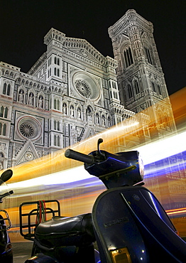 Vespa parked in front of a cathedral, nighttime, Florence, Tuscany, Italy, Europe