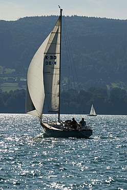 Sailboat sailing on Lake Attersee, Upper Austria, Austria, Europe