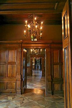 Chandelier and doorways at Castle Grafenegg, Lower Austria, Austria