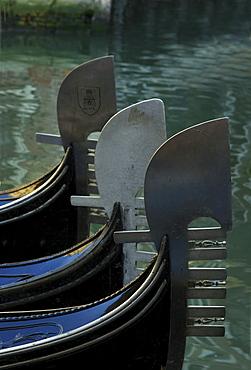 Gondolas, detail, Venice, Italy