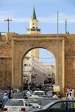 Old gate Bab al Khending to medina with minaret Tripolis Libya