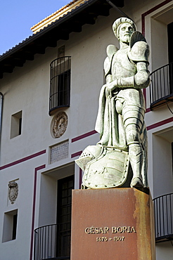 Cesar Borja Memorial among statues of the Borgia or Borja noble family (House of Borgia), Gandia, Costa Blanca, Valencia Province, Spain