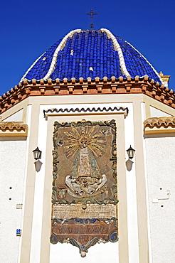 Deep blue tiled church dome against blue sky, Plaza Castelar, Benidorm, Alicante, Costa Blanca, Spain
