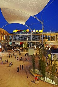 Sunshade, Pavilions, dusk, evening mood, Expo 2008, World Fair, Zaragoza, Aragon, Spain, Europe