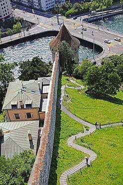 Bridge, Reuss River, view from the Maennliturm Tower toward Noelliturm Tower, Museggturm Tower, Museggmauer Wall, city wall, city fortification, Lucerne, Switzerland, Europe