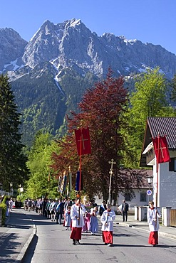 Grainau Werdenfelser Land country of Werdenfels district of Garmisch-Partenkirchen Upper Bavaria Germany Corpus Christi Procession