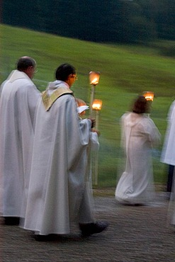 Violau district of Augsburg Swabia Bavaria Germany parish and pilgrimage church S. Michael pilgrimage and procession with candle lights on evening of the Feast of Assumption