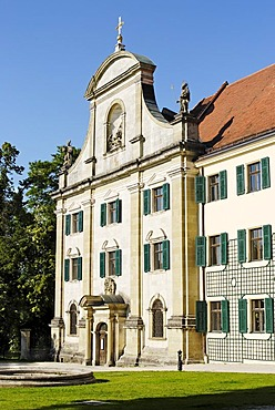 Regensburg Upper Palatinate Bavaria Germany suburb Pruefening catholic parish church St. Georg with the former Benedictine abbey
