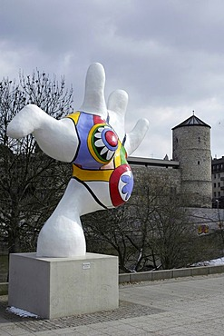 Hannover Niedersachsen Germany Nanas figurs of the artist Niki S. Phalle at the river Leine in front of the historic town