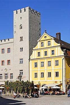 Regensburg Upper Palatinate Bavaria Germany Haidplatz with the dynasty tower of the former inn Goldenes Kreuz