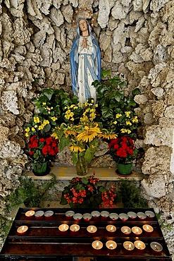 Luesen Luson in The Val di Luson Luesener Tal under the Plose near Brixen Southern Tyrol Alto Adige Italy church St. George Lourdes Mary
