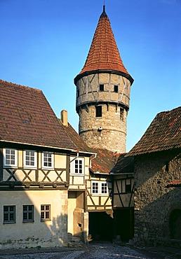 Ostheim Rhoen mountains Rhoen mountains Lower Frankonia Bavaria Germany church castle peel tower 15 Century