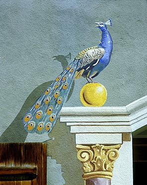 """Mittenwald Upper Bavaria Germany mural painting from 1978 at the house """"zum Groana Pfau"""""""