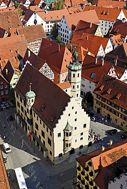Noerdlingen Noerdlingen Swabia Bavaria Germany from the tower of the parish church St Georg to the old town with the town hall