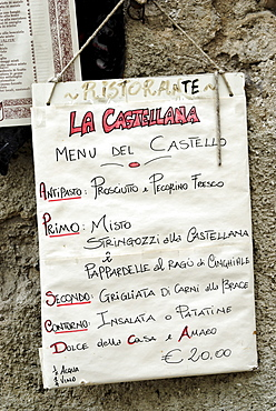 Caserta-Vecchia Campania Italy Italia menu card tourist restaurant