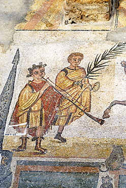Chariot race musicans and man with palm mosaic floor Villa Casale Piazza Armerina Sicily Italy