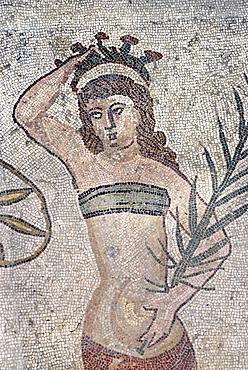 Girl with a bikini mosaic floor Villa Casale Piazza Armerina Sicily Italy