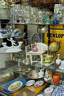 Display of an antiques dealer in Amalien areaway Tuerken street Munich Bavaria Germany