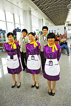Staff of the coffeeshop, Airport, Chengdu, China, Asia
