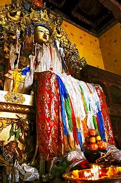 Buddha figure in the Ganden convent (4300m) near Lhasa, Tibet