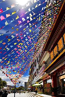 Flags at a supermarket, Lhasa, Tibet