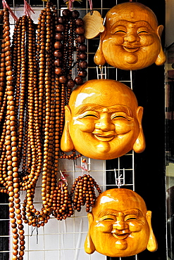 Fangbang Zhonglu antique market, wooden masks and necklaces, Shanghai, China, Asia