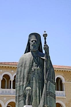 Archbishop's Palace, statue archbishop Makarios, Nicosia, Cyprus