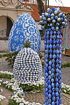 Easter Fountain decorated with hand-painted eggs, Ingolstadt, Bavaria, Germany, Europe