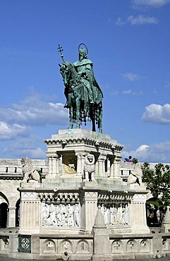 Bronze equestrian statue of St. Stephen, the king responsible for spreading Christianity throughout Hungary, Budapest, Hungary, Europe