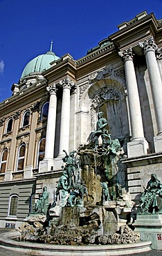 Matthias Fountain in front of Buda Castle with a dome, Budapest, Hungary, Europe