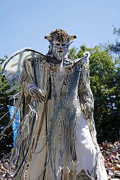 Demon devil mask stilts, knight festival Kaltenberger Ritterspiele, Kaltenberg, Upper Bavaria, Germany