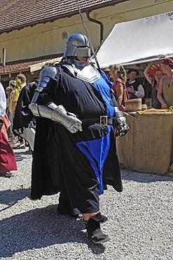 Corpulent knight in mediaeval medieval costume, knight festival Kaltenberger Ritterspiele, Kaltenberg, Upper Bavaria, Germany