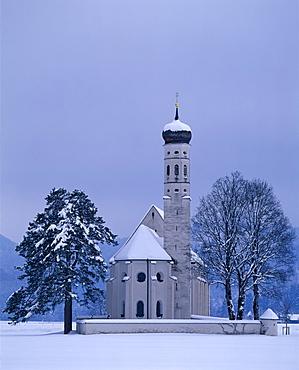 St. Coloman's Church, pilgrimage site near Fuessen, Allgaeu, Bavaria, Germany, Europe