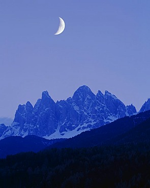 Geisler Massif, moon in the sky, Villnoesstal Valley, Province of Bolzano-Bozen, Italy, Europe