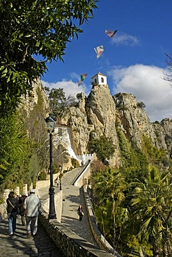 Bell tower on rock of Guadelest, Guadalest, Costa Blanca, Spain
