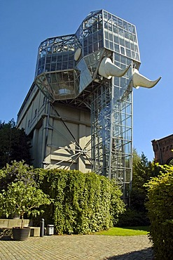 The glass elephant by Horst Rellecke, former mine Maximilian, Maximilianpark, Hamm, North Rhine Westphalia, Germany