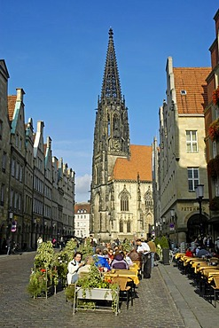St. Lamberti Church and Prinzipal Market (Prinzipalmarkt), Muenster, North Rhine-Westphalia, Germany