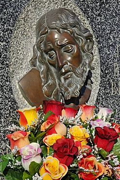 Jesus relief with flowers, cemetery, Altea, Costa Blanca, Spain